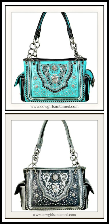COWGIRL STYLE HANDBAG Silver Concho Arrowhead Studded Floral Tooled Shoulder Bag