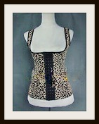 CORSET - Sexy Leopard Black and Beige Corset Girdle Bustier Top with Straps