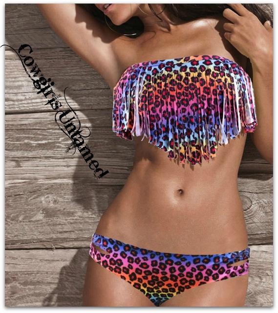 COWGIRL GYPSY BIKINI Multi Color Leopard Print Padded Fringe Strapless Top Side Slit Bottom Western Bikini Swimsuit - 2 piece