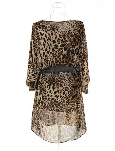 COWGIRL GLAM TOP Dolman Sleeve Leopard Semi Sheer Tunic Top Mini Dress