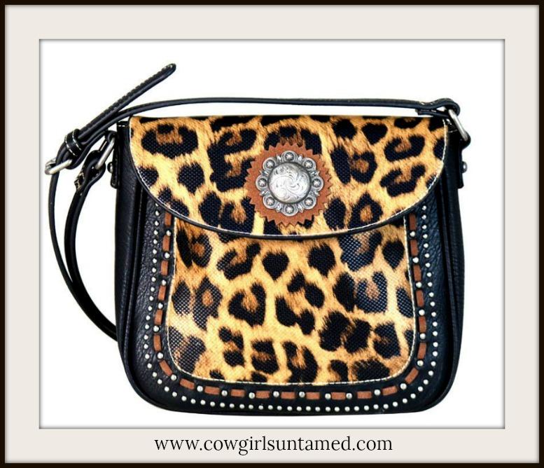 COWGIRL GLAM CROSSBODY Silver Concho & Studded Leopard Print Leather Crossbody