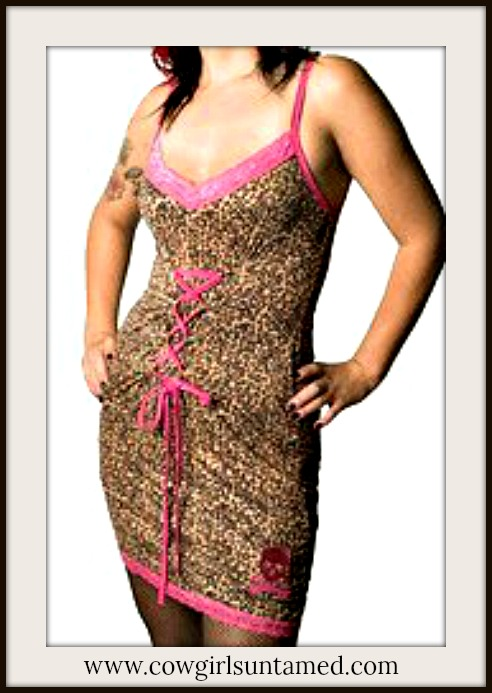 COWGIRLS ROCK DRESS Pink Lace Trim and Pink Lace Up Front on Brown Leopard Fitted Dress
