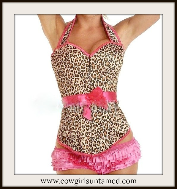 CORSET - Brown n Black Leopard with Hot Pink Trim Satin Halter Corset