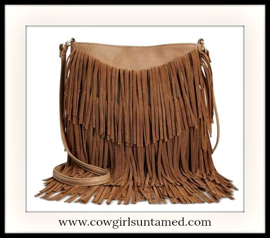WILDFLOWER BAG Light Brown Tiered Fringe Faux Leather Designer Crossbody Boho Bag