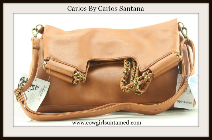CARLOS by CARLOS SANTANA SHOPPER Light Brown and Gold Hardware Designer Tote