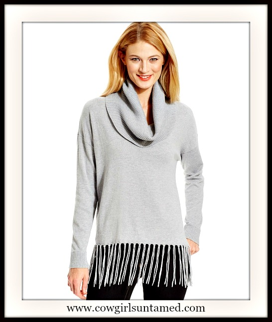 MICHAEL KORS SWEATER Soft Light Grey Fringe Cowl Neck Designer Sweater