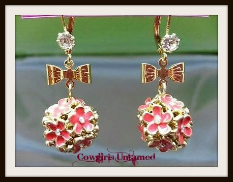 COWGIRL GLAM EARRINGS Pink Floral Gold Bow Rhinestone Earrings