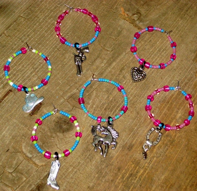 COWGIRL STYLE DECOR Wine Lime Green Blue Pink N White Wine Charms
