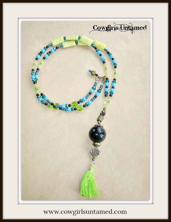 WILDFLOWER NECKLACE Lime Green Turquoise Teal Crystal Long Beaded Necklace