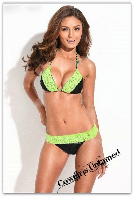 COWGIRL GYPSY BIKINI Black with Lime Lace Trim Brazillian Bottom DESIGNER Bikini Set