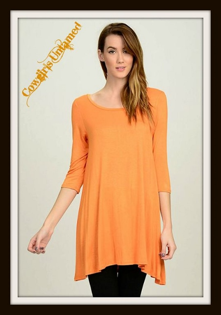 COWGIRL STYLE TOP 3/4 Sleeve A-Line Hi Lo Hemline Long Tunic Top / Mini Dress