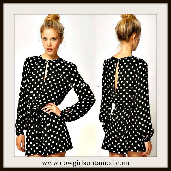 COWGIRL GYPSY SHORTS Long Sleeve Keyhole Neckline Elastic Waist Black N White Polka Dot Shorts Jumpsuit