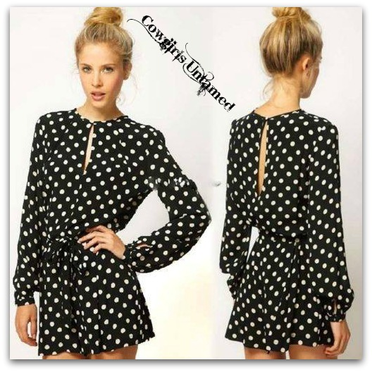 COWGIRL GYPSY SHORTS Long Sleeve Keyhole Neckline Elastic Waist Black N White Polka Dot Shorts Jumpsuit