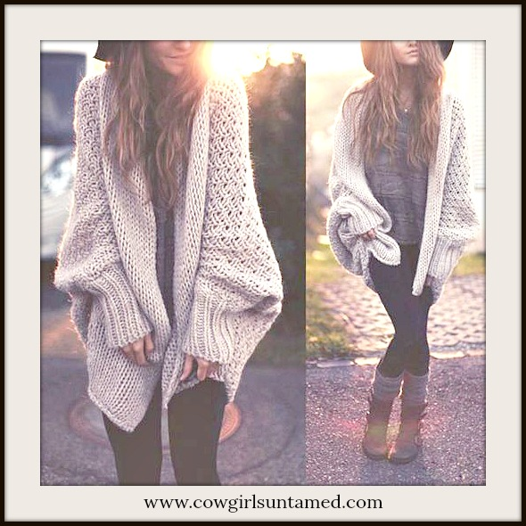 VINTAGE COWGIRL SWEATER Beige Long Sleeve Loose Fit Boho Cardigan