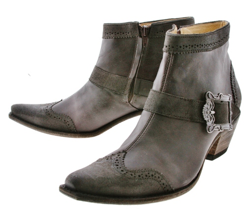 COWGIRL STYLE BOOTS Grey Black with Zipper and Vintage Style Buckle Leather LUCCHESE Charlie 1 Horse Designer Western Ankle Boots