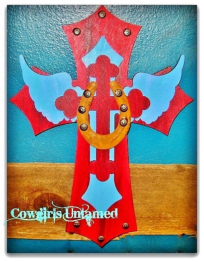 COWGIRL STYLE DECOR Metal Horseshoe on Turquoise & Red Angel Wing Cross Wood Western Cross