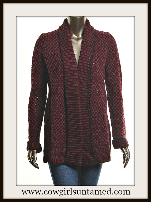 MATTY M SWEATER Burgundy and Black Knit Open Cardigan Designer Sweater