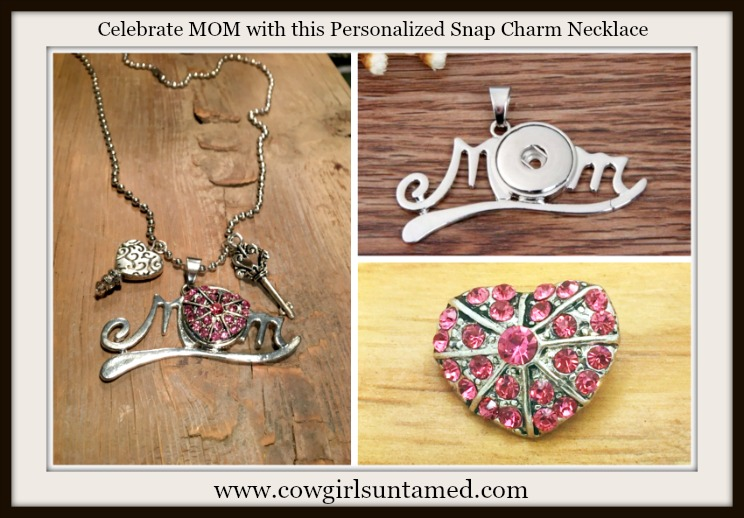 "COWGIRL ATTITUDE NECKLACE Pink Crystal Heart Snap on ""MOM"" Pendant with Crystal Heart Key Charms"