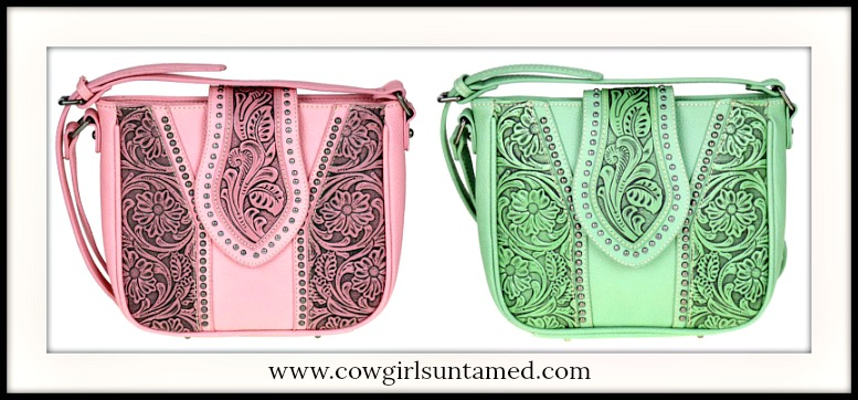 COWGIRLS in SPRING Floral Tooled Leather Cross Body Purse in 2 Great Colors