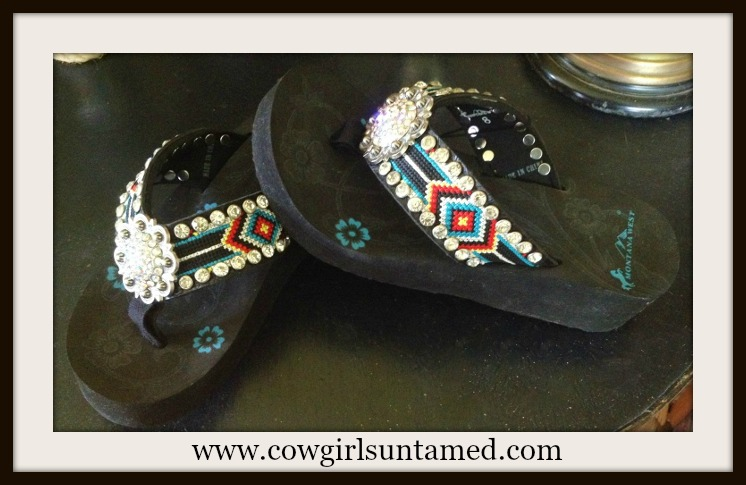 MONTANA WEST SHOES Aztec Beaded Strap with Crystal Cross Concho & Rhinestones on Black Heel Flip Flops