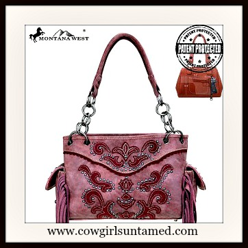 COWGIRL GLAM HANDBAG Red Burgundy Studded Distressed Fringe Concealed Gun Handbag