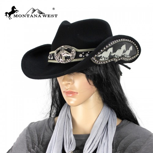 COWGIRL STYLE HAT Silver Horse Concho on Rhinestone Studded Hatband Black Felt Western Hat