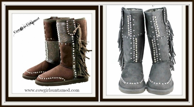 COWGIRL STYLE BOOTS Rhinestone N Silver Studded Fringe Suede Like Fur Lined Winter Boots
