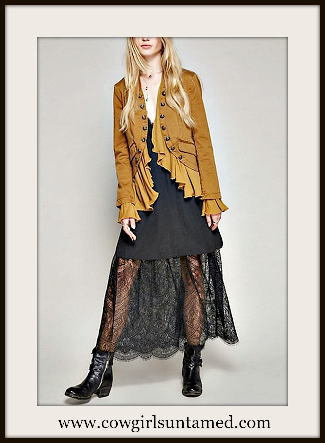 COWGIRL GYPSY JACKET Antique Bronze Button Accent Ruffle Ochre Brown Boho Coat