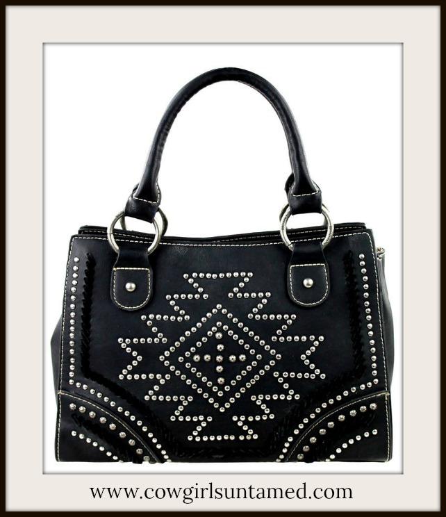 COWGIRL STYLE HANDBAG Silver Studded Black Leather Designer Southwestern Style Satchel