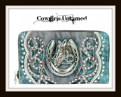 COWGIRL STYLE WALLET Antique Silver Horse Head in Horseshoe Rhinestone Studded Turquoise Trim on Black Leather Wallet