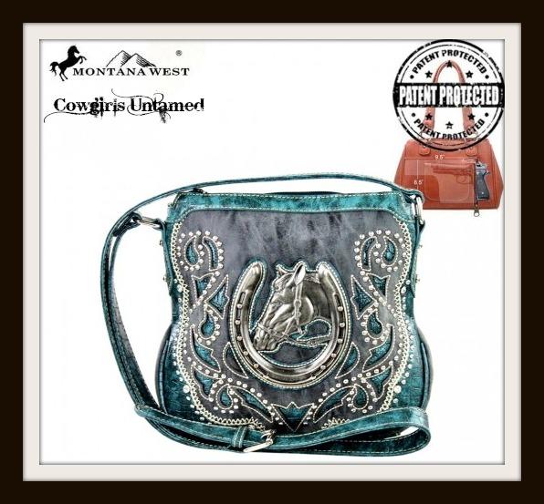 COWGIRL STYLE CONCEALED HANDGUN MESSENGER BAG Silver Horse Turquoise Trim Black Western Messenger Bag
