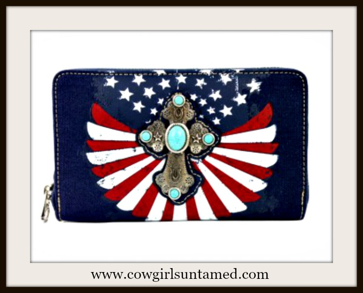 AMERICA FIRST WALLET Antique Silver Cross Turquoise Stones on Red White and Navy Leather Zip Around Wallet