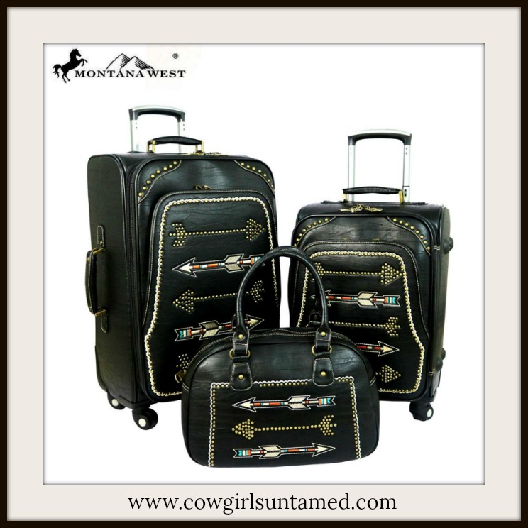 COWGIRL STYLE LUGGAGE SET Multi Color Arrow Embroidery on Studded Black Leather Luggage Set