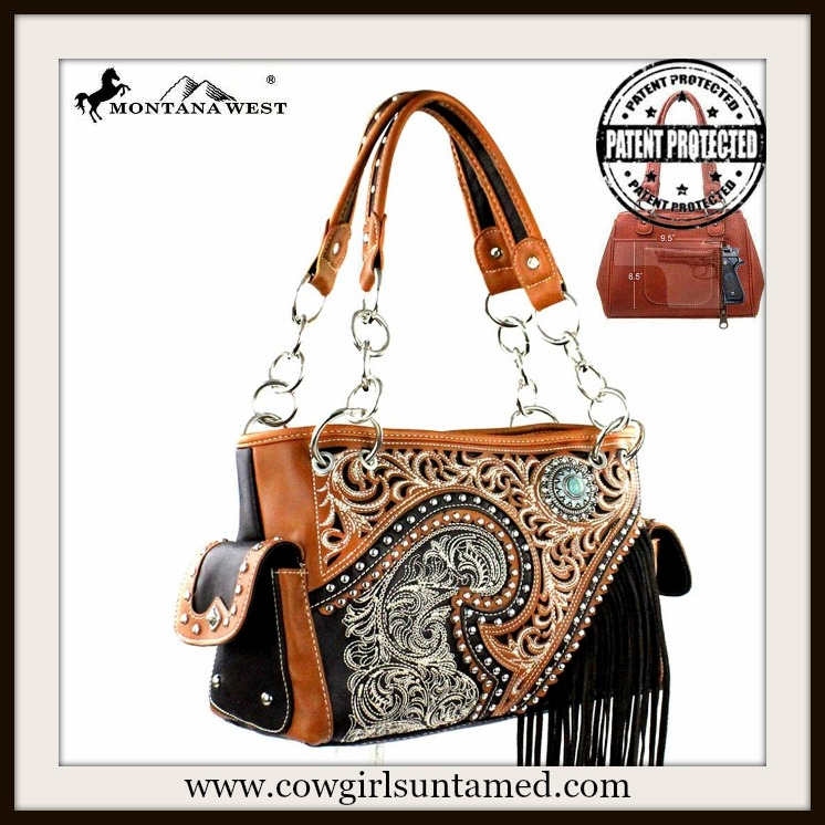WESTERN COWGIRL HANDBAG Silver Studded Brown & Black Leather Fringe Concealed Weapon Handbag