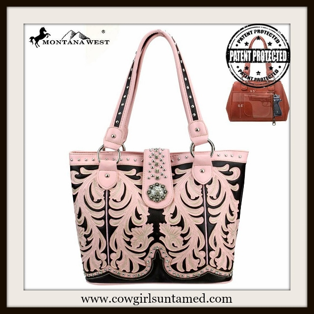 WESTERN COWGIRL HANDBAG Silver Concho Closure Pink Leather Concealed Weapon Handbag