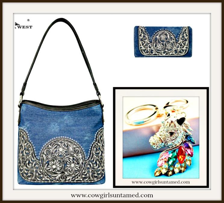 COWGIRL STYLE HANDBAG Blue Denim and Embossed Leather Designer Hobo Handbag Wallet Set