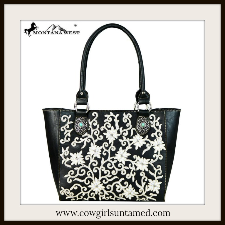 COWGIRL GYPSY TOTE Black & White Floral Crystal Stud Turquoise Concho Leather Tote