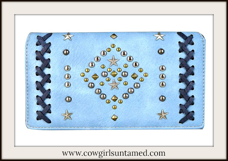 COWGIRL STYLE WALLET Navy Cross Stitch Silver & Brass Studded Star Blue Wallet