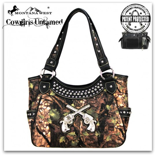 CAMO COWGIRL PURSE Silver Crystal Sixshooter on Rhinestone Studded CONCEALED WEAPON Black Camo Leather Handbag