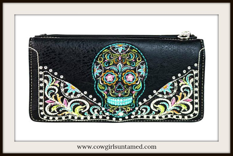 COWGIRLS ROCK WALLET Embroidered Sugar Skull Black Designer Leather Wallet