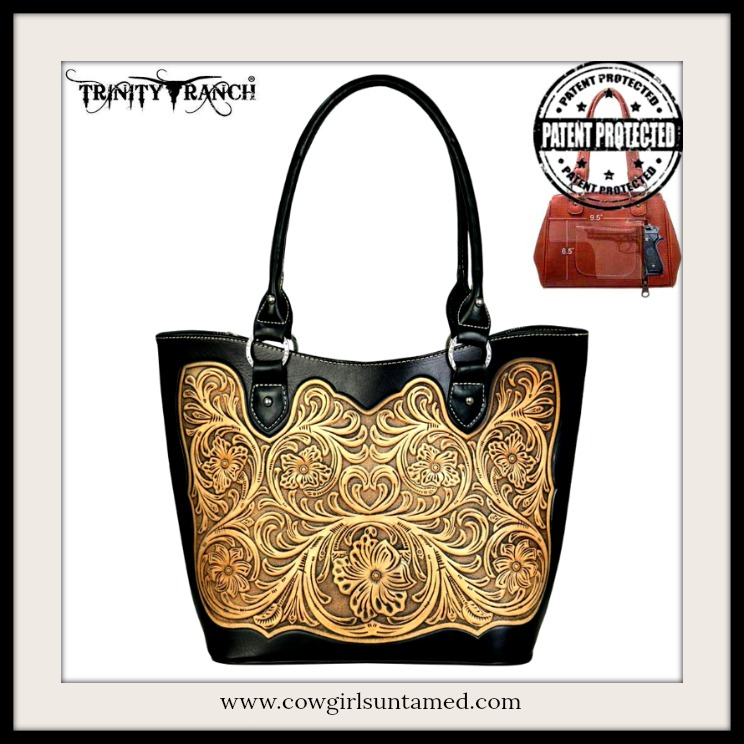 COWGIRL STYLE CONCEALED WEAPON HANDBAG Floral Tan Embossed Black Leather Concealed Weapon Handbag  5 COLORS