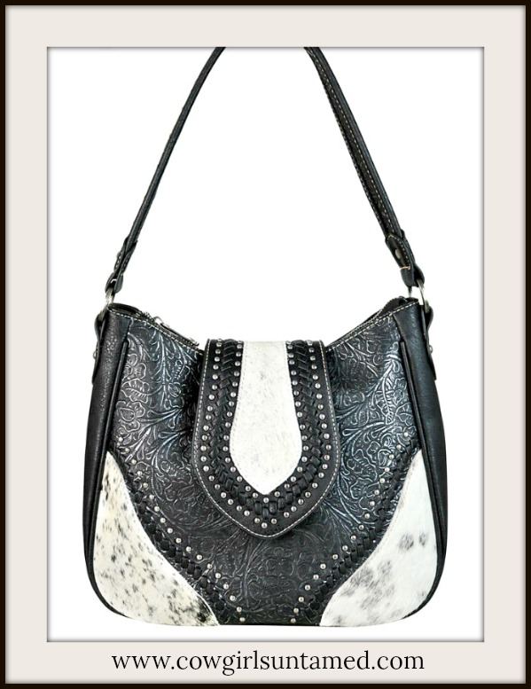 COWGIRL STYLE HANDBAG Floral Tooled Black Genuine Leather Silver Studded Hair on Hide Hobo Bag