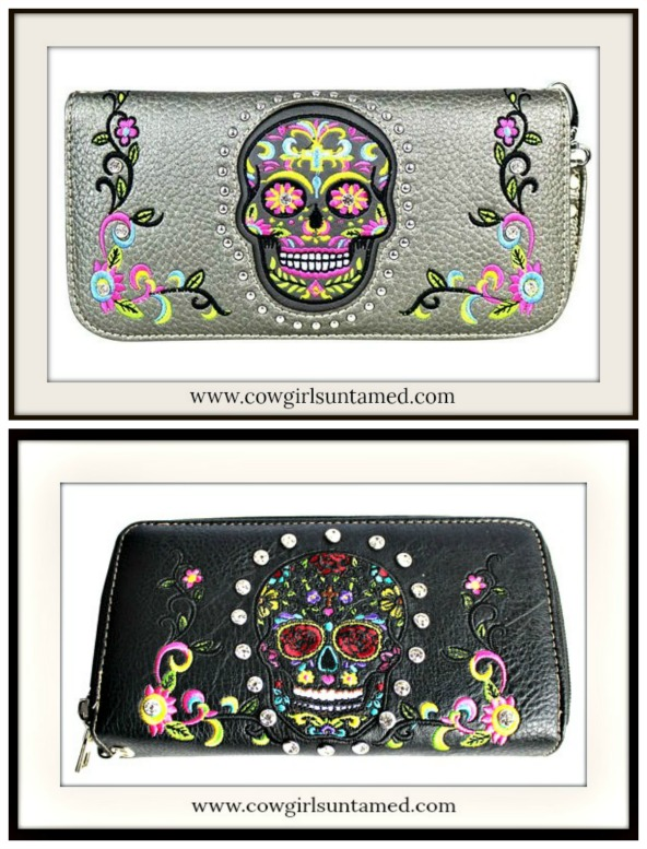 COWGIRLS ROCK WALLET Rhinestone Sugar Skull Floral Embroidery SMARTPHONE Leather Wallet