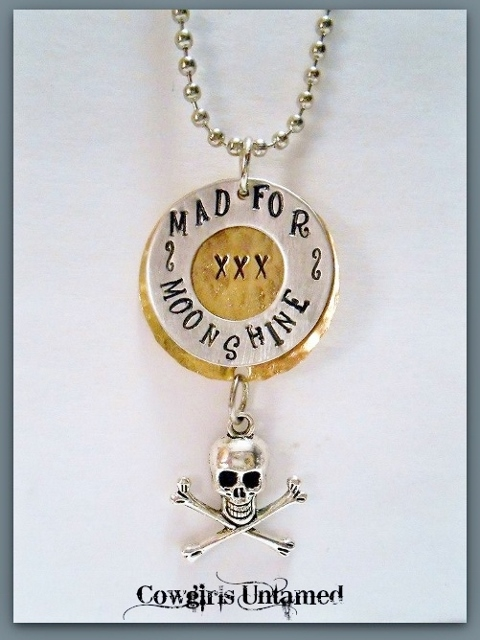 "COUNTRY COWGIRL NECKLACE ""Mad for Moonshine"" Pendant with Skull n Crossbones Silver Ball Chain Western Necklace ARTISAN MADE"