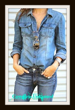 WILDFLOWER SHIRT Retro Medium Wash Snap Front Blue Jean Shirt