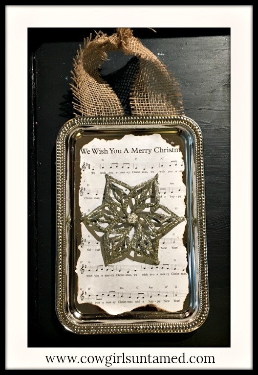 COWGIRL CHRISTMAS DECOR Handmade Embellished Snowflake Music Sign Farmhouse Wall Hanging