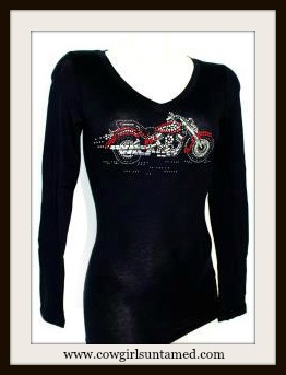 SASSY COWGIRL BIKER TEE Red Rhinestone Motorcycle V Neck Long Seeve Black T-Shirt