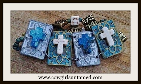 VINTAGE COWGIRL BRACELET Gemstone Crosses on Patina Metal Panels and Antique Bronze Double Beaded Bracelet
