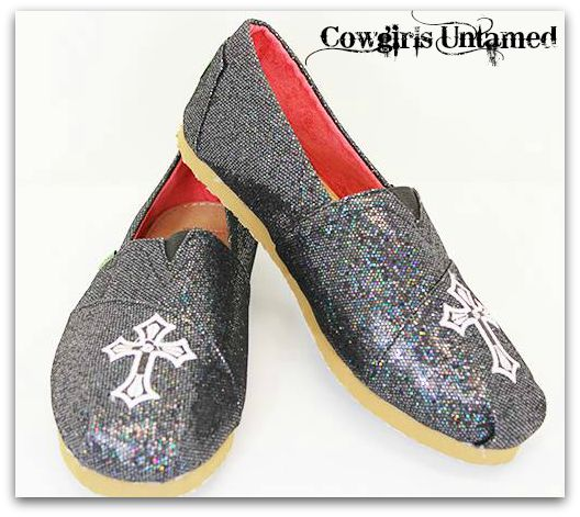 SPIRITUAL COWGIRL SHOES Black Glitter Embroidered Cross TOM'S LIKE Flat Shoes