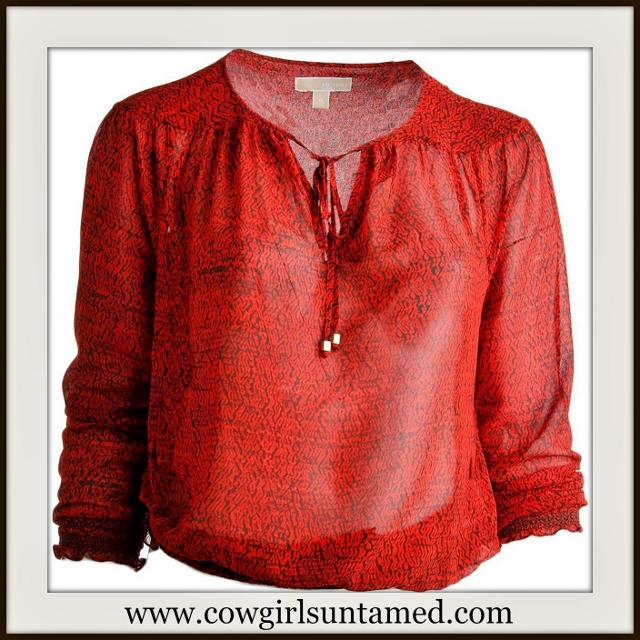 COWGIRL GLAM TOP Red and Black Smocked Hem Pullover Tie Neckline Designer Top Shirt
